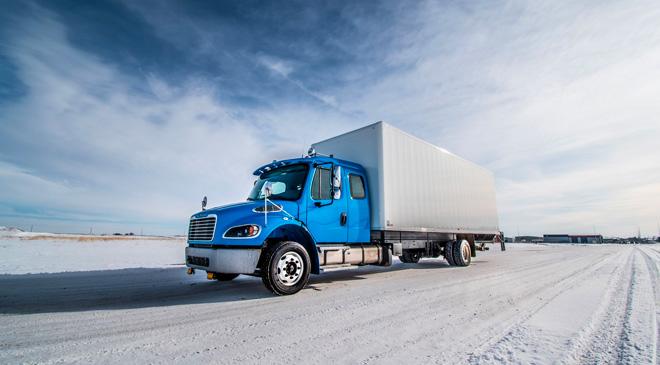 custom transportation truck on road