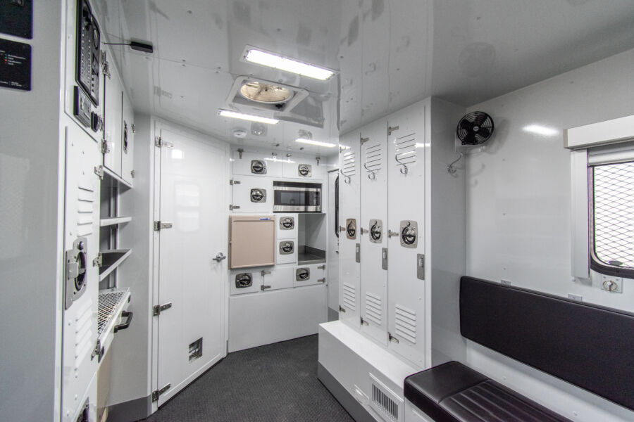 lockers and storage compartments of a custom trailer interior