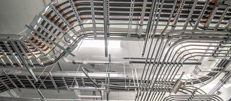 view of complex metal pipes and wires